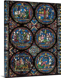 UK, England, Canterbury. Cathedral. Glass window with medicine representations