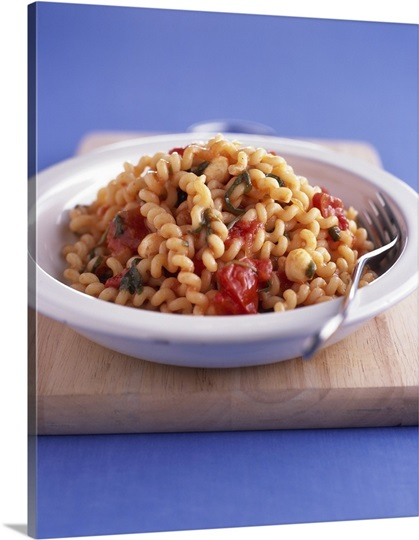 Fusilli Pasta with Tomato and Basil Sauce Photo Canvas ...