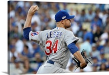 2016 MLB Playoffs: Jon Lester #34 of the Chicago Cubs pitches against the LA Dodgers