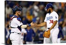 2016 MLB Playoffs:  Kenley Jansen #74 Yasmani Grandal #9 of the Los Angeles Dodgers