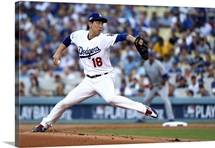 2016 MLB Playoffs: Kenta Maeda #18 of Los Angeles Dodgers pitches against Chicago Cubs
