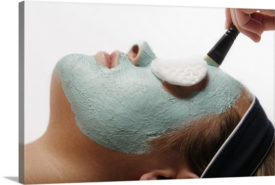 A facial masque at a spa