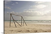 A makeshift soccer net constructed from driftwood. Tulum, Mexico, 2010.