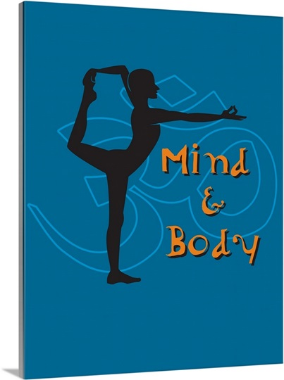 A man in a yoga position and the words Mind and Body