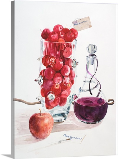 A painting of fruits and wine