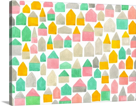 A pattern created from different colored and shaped houses