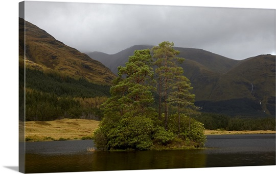A small island on a loch in Glen Etive, Scottish Highlands