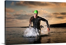 A triathlete at the ocean