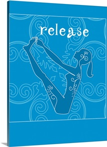 A woman in a yoga pose and the word Balance