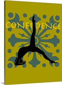 A woman in a yoga pose and the word Confidence