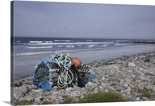 Abandoned fishing tackle on the shore of Baleshare island, North Uist, Outer Hebrides