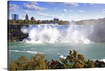 American Falls at Niagara Falls. View south to Buffalo and the USA from Canada.