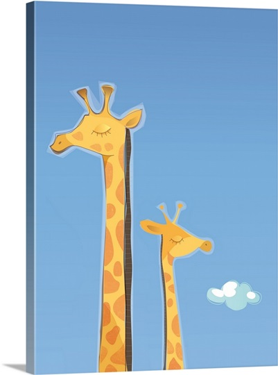 An illustration of a mother and child giraffe