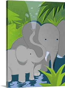An illustration of a mother and infant elephant bathing