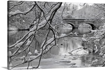 Arch bridge over partially frozen river seen trough snow covered branches.