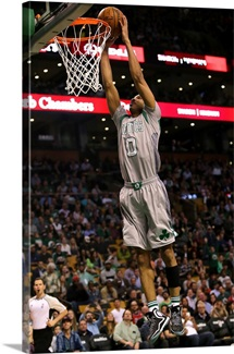 Avery Bradley of the Boston Celtics goes up for a dunk