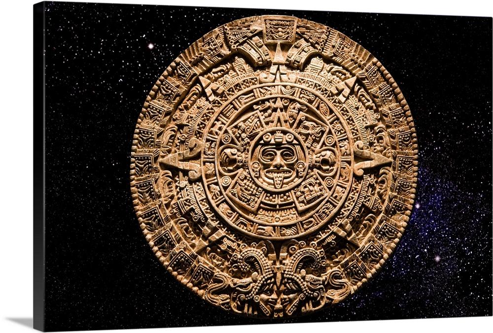 Premium thick wrap canvas wall art entitled aztec calendar