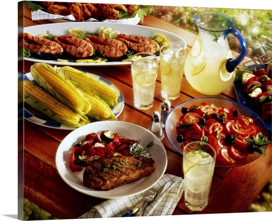 Barbecue Spread On Picnic Table Wall Art Canvas Prints