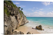 Beach at ruins in Tulum.