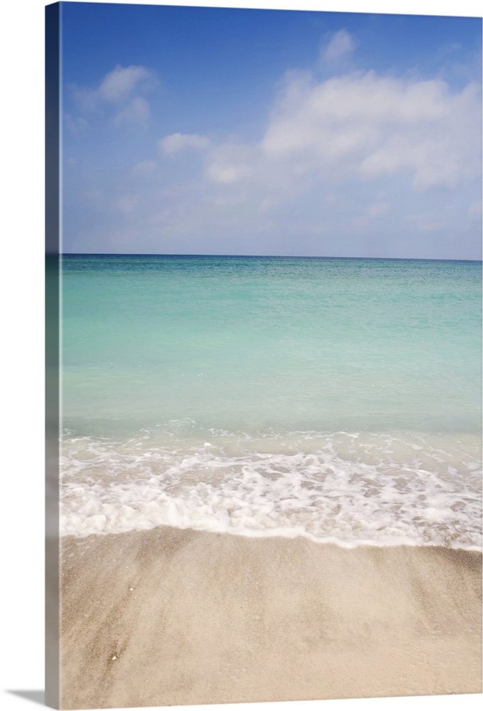 premium thick wrap canvas wall art entitled beach scene with blue sky turquoise ebay. Black Bedroom Furniture Sets. Home Design Ideas