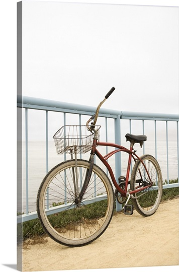 bicycle leaning against railing photo canvas print great big canvas. Black Bedroom Furniture Sets. Home Design Ideas