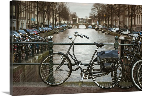 bikes parked by canal amsterdam netherlands photo canvas print great big canvas. Black Bedroom Furniture Sets. Home Design Ideas