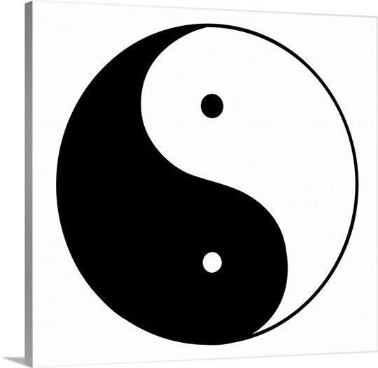 Black and white illustration of T&#39;ai Chi circle