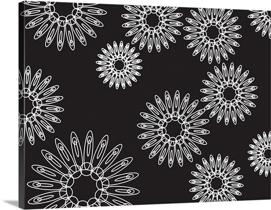 Black background with white motifs