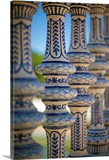 Blue and white ceramic fence, Seville, Andalucia Spain.