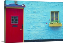 Blue building with red door, Ireland