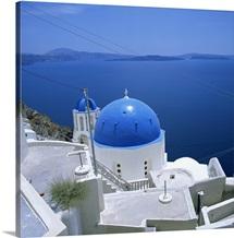 Blue church dome in Imerovigli, Santorini