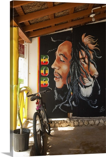 Bob marley mural at blazer on the bay bar and restaurant for Bob marley wall mural