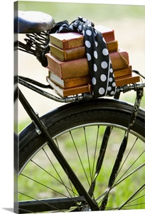 books on bike photo canvas print great big canvas. Black Bedroom Furniture Sets. Home Design Ideas