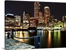 Boston Waterfront at night, Massachusetts