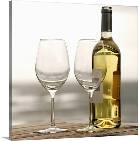 Bottle of white wine and two glasses photo canvas print for Large white wine glasses