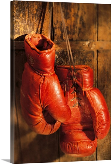 boxing gloves hanging on rustic wooden wall photo canvas