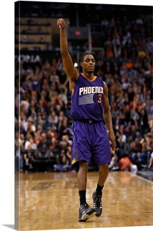 Brandon Knight 3 of the Phoenix Suns reacts to a three point shot
