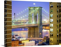 Brooklyn bridge between two Condo buildings, USA.