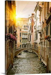 Buildings and bridge on urban canal, Venice, Italy