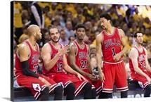 Bulls players Taj Gibson, Joakim Noah, Jimmy Butler, Derrick Rose, and Kirk Hinrich