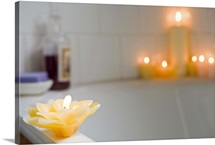 Candles by bathtub