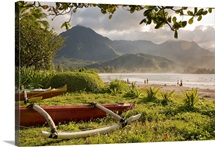 Canoe with mountain backdrop, Kauai, Hanalei, Hawaii