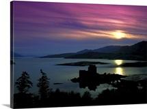 Castle at sunset, Eilean Donan, Highland, Scotland.