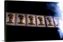 Chicago Bulls championship banners that hang from the rafters of the United Center