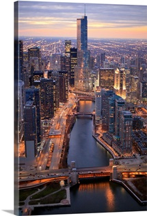 Chicago River and Trump Tower from above during sunset with clear crisp skies.