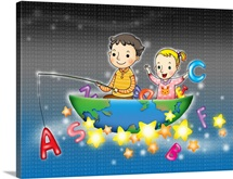 Children in a boat with the globe on it and fishing for the alphabet