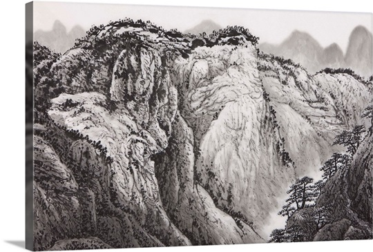 Chinese Fine art,Traditional Chinese Painting,Mountain,Cliff
