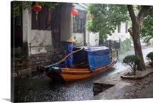 Chinese water town in hard rain