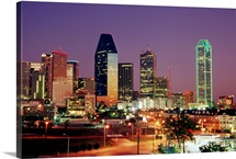 City Skyline at Night, Dallas, Texas, USA