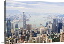 Cityscape of Hong Kong from Victoria Peak, Hong Kong Island, Hong Kong, China